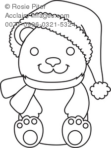 Clip Art Illustration Of The Outline Of A Smiling Teddy Bear Wearing A Scarf and Santa Hat