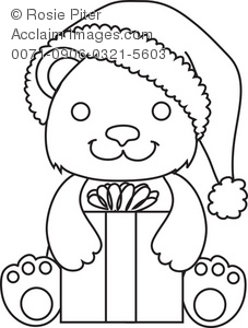 Outline Of A Holiday Bear Holding a Gift. The Bear Is Smiling