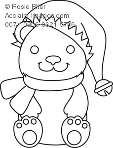 Clip Art Outline Illustration Of A Teddy Bear Wearing A Santa Hat