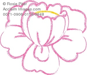 Pink Outline Of A Blooming Flower