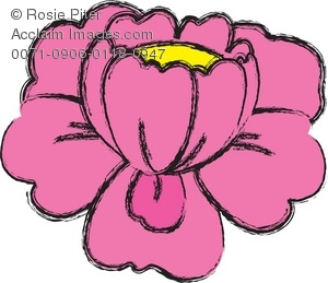 Clip Art Illustration Of A Pink Flower With A Yellow Center