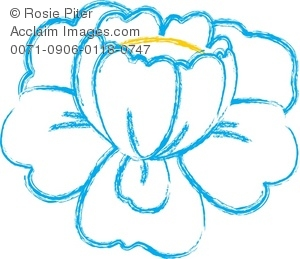 Clip art Illustration Of A Blue and White Flower