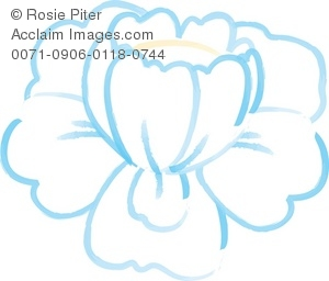 Clip Art Illustration Of A White Flower With Blue Outlines