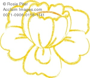 Clip  Art Illustration Of A White Flower With Yellow Outline