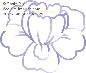 Clip Art Illustration Of A White Flower With Purple Outlines