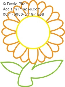 Clip Art Illustration Of An Orange And Yellow Daisy With A Green Stem