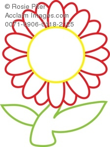 Clip Art Illustration Of A Red And Yellow Daisy Flower With A Green Stem
