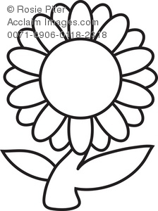 clip art illustration of a daisy flower in black and white royalty rh clipartguide com flower clipart black and white free download free spring flower black and white clipart