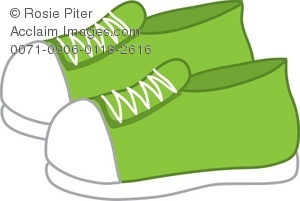 clip art illustration Of A Pair Of Green Tennis Shoes
