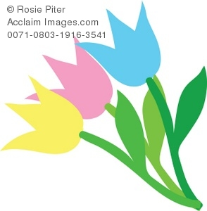 Clip Art Illustration Of Colorful Tulips With Green Stems