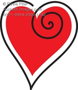 Clip Art Illustration A Red Heart With A Black Outline