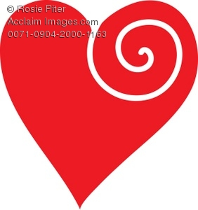 Clip Art Illustration Of A Red Heart With A White Design