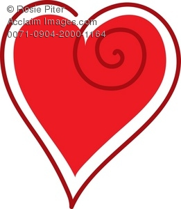 Clip Art Illustration Of A Red Heart With A Dark Red Outline
