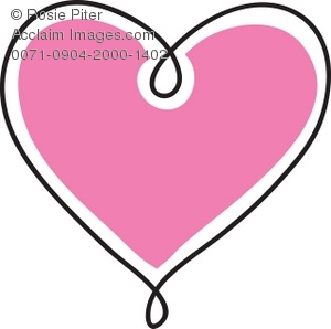 Clip Art Illustration Of A Pink Heart With A Black Outline