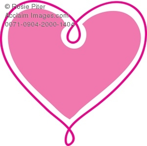 Clip Art Illustration Of a Pink Heart with A Darker Pink Outline