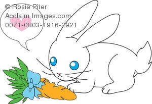 Clip Art Image Of A White Rabbit Admiring a carrot