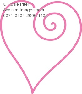 clip art illustration of a pink outline of a heart