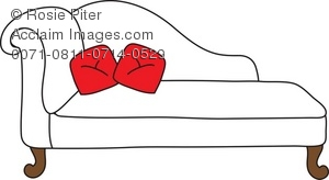 clip art illustration of a white chaise lounge with red pillows