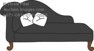 clip art illustration of a black chaise lounge with white pillows