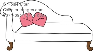clip art illustration of a white chaise lounge with pink pillows