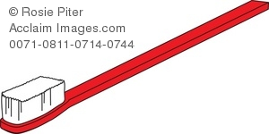 Clip Art Illustration Of A Red Toothbrush