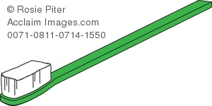 Clip Art Illustration Of A Green Toothbrush