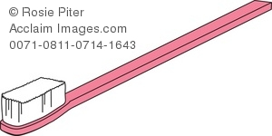 Clip Art Illustration Of A Pink Toothbrush