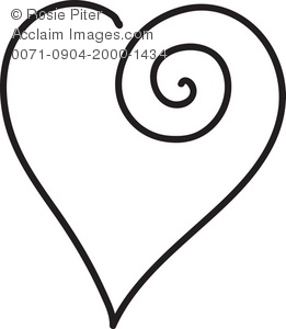 clip art illustration of a white heart with black outline