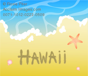 "Excellent clipart image of ""Hawaii"" written in the sand on a lovely tropical beach"