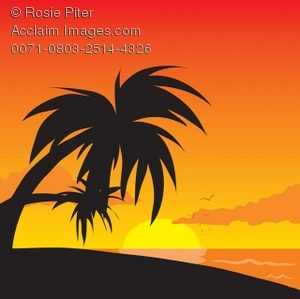 Clip Art Illustration Of Palm Trees On A Beach During A Sunset