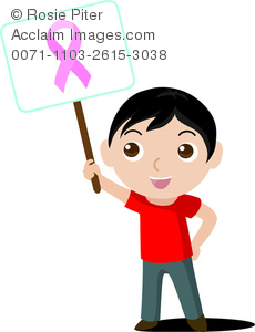 Clip Art Image Of A Boy Holding A Sign With A Breast Cancer Awareness Ribbon On It