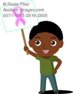 Clip Art Image Of An African American boy Holding A Breast Cancer Awareness Sign