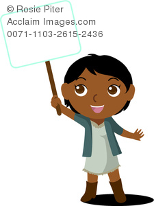 Clip Art Image Of An African American Child Holding A Blank Sign