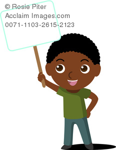 Clip Art Image Of An African American Boy Holding A Blank Sign