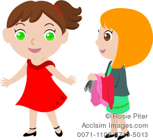 clip art image of two young girls trying on clothes royalty free rh clipartguide com Shirt and Pants Clip Art Hair Brush Clip Art