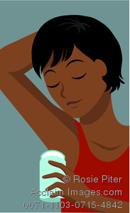 Clip Art image Of An African American Womabn Applying Underarm Deoderant