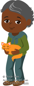 clip art image of an african American boy Holding A Cat