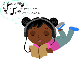 Clip Art Illustration Of An African American Girl Laying On The Floor Listening to Music In Headphones And Reading A book