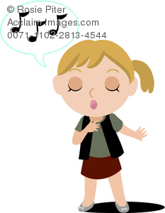 Image of A Girl Singing With Her Eyes Closed In A Vector Clip Art illustration