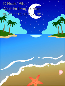 Clip Art Image Of A Tropical Beach Scene With A Half Moon Reflecting On The Water