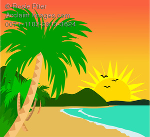 Clip Art Illustration Of A Tropical Beach On A Sunny Day
