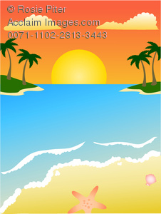 illustration of a tropical beach in the sunset