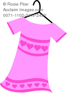 Illustration Of A Pink Shirt With Heart Print On A Hanger ...