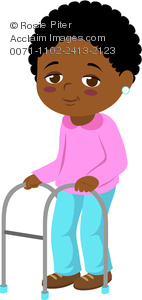Illustration Of An African American Elderly Woman With  A Walker