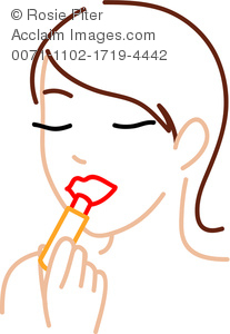 Outline Illustration Clipart Of A woman Applying Lipstick