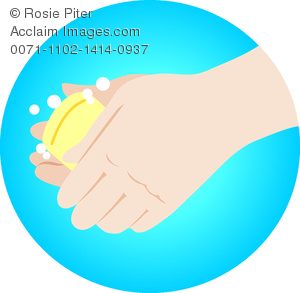 clip art illustration of a person washing their hands with soap