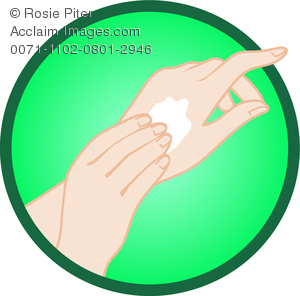 clip art illustration of a woman applying lotion to her hands on a green background