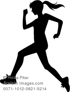 clip art silhouette of a woman jogging