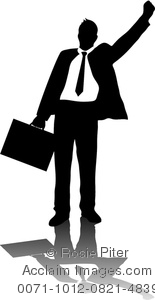 clip art illustration of a businessman holding a briefcase and has one arm in the air