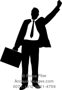 clip art illustration of a businessman standing with his arm in the air and holding a briefcase